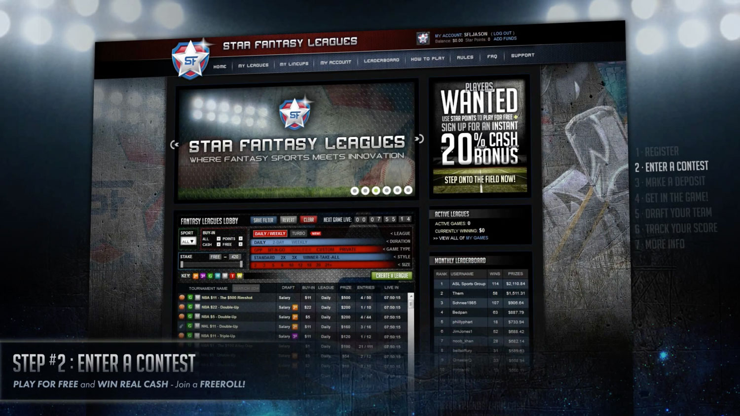 User Experience Design | Star Fantasy Leagues | Demo Step 2