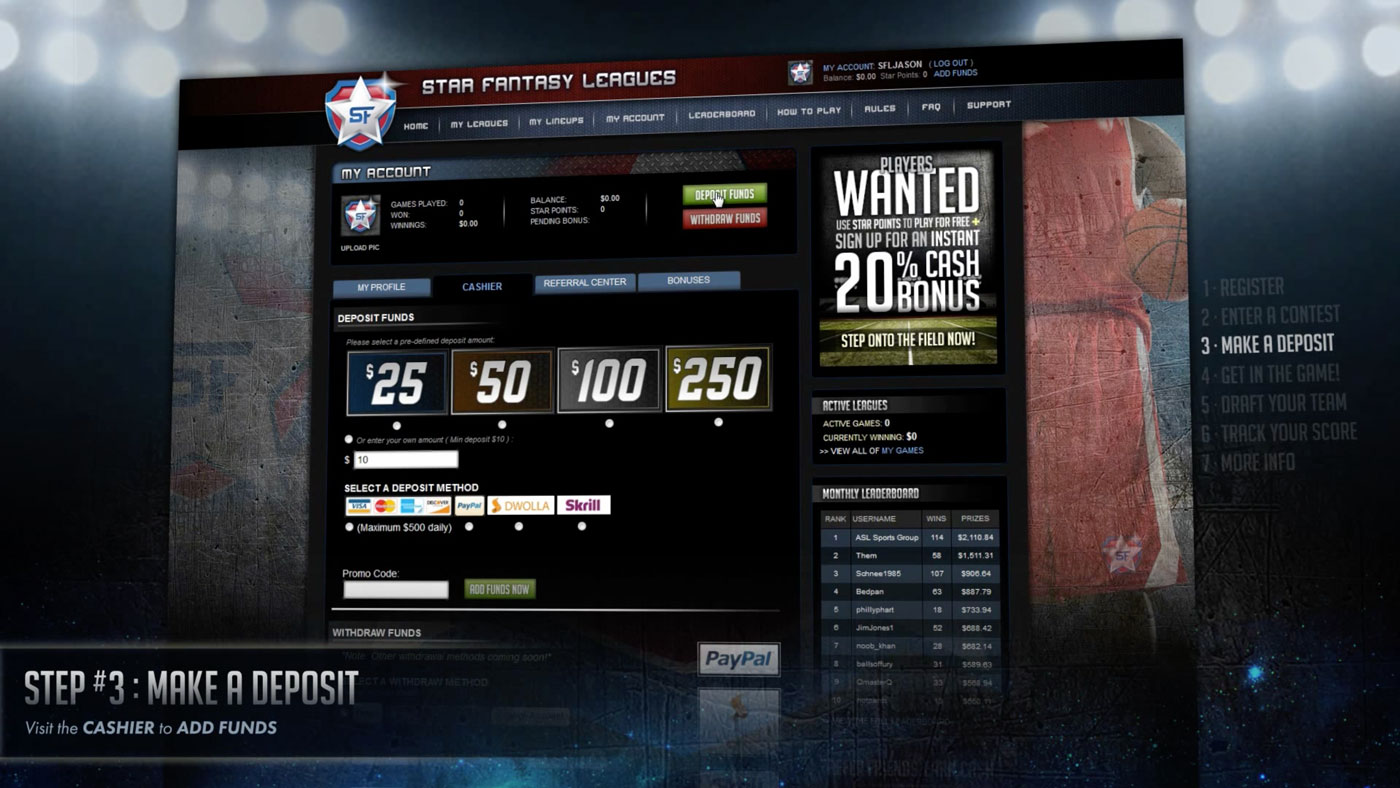 User Experience/User Interface | Star Fantasy Leagues | Demo Step 3