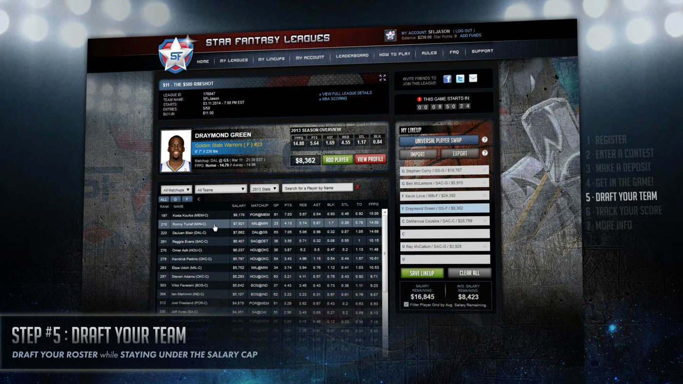 User Experience/User Interface | Star Fantasy Leagues | Demo Step 5