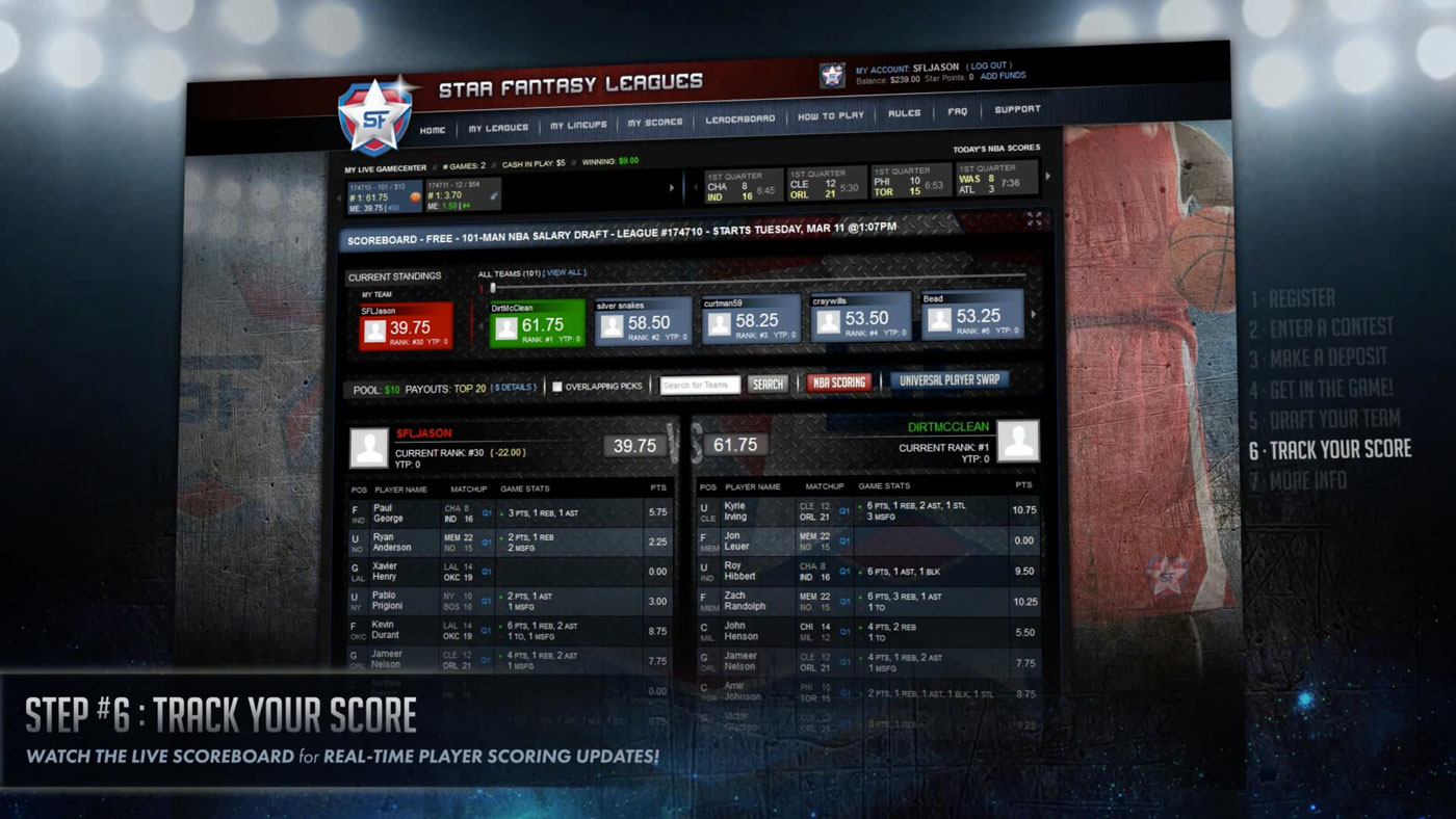 User Experience/User Interface | Star Fantasy Leagues | Demo Step 6