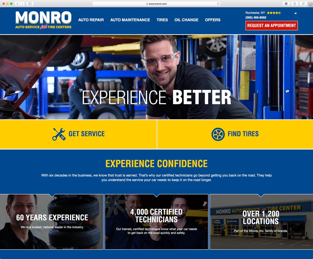 Screenshot of the Monro Auto Service Homepage