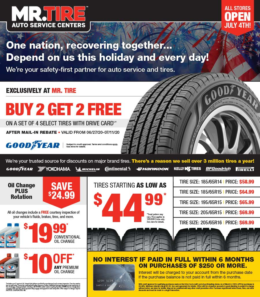 Graphic design portfolio example of Mr. Tire advertising flyer
