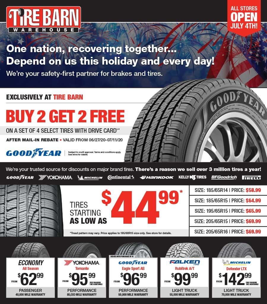 Graphic design portfolio example of Tire Barn advertising flyer
