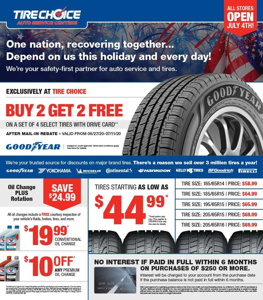 Graphic design portfolio example of Tire Choice advertising flyer
