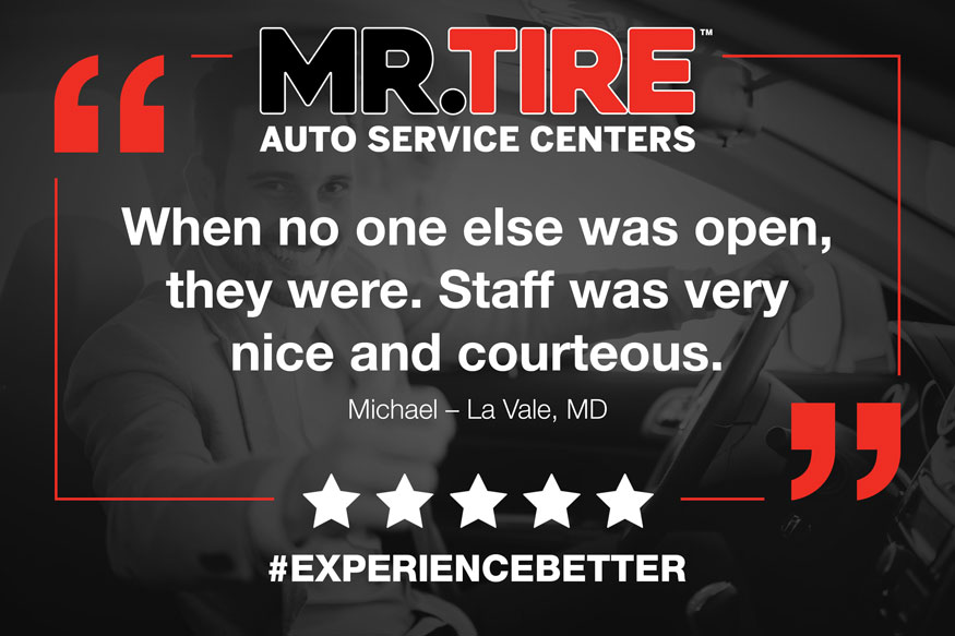 Image of Mr. Tire testimonial graphic for social media