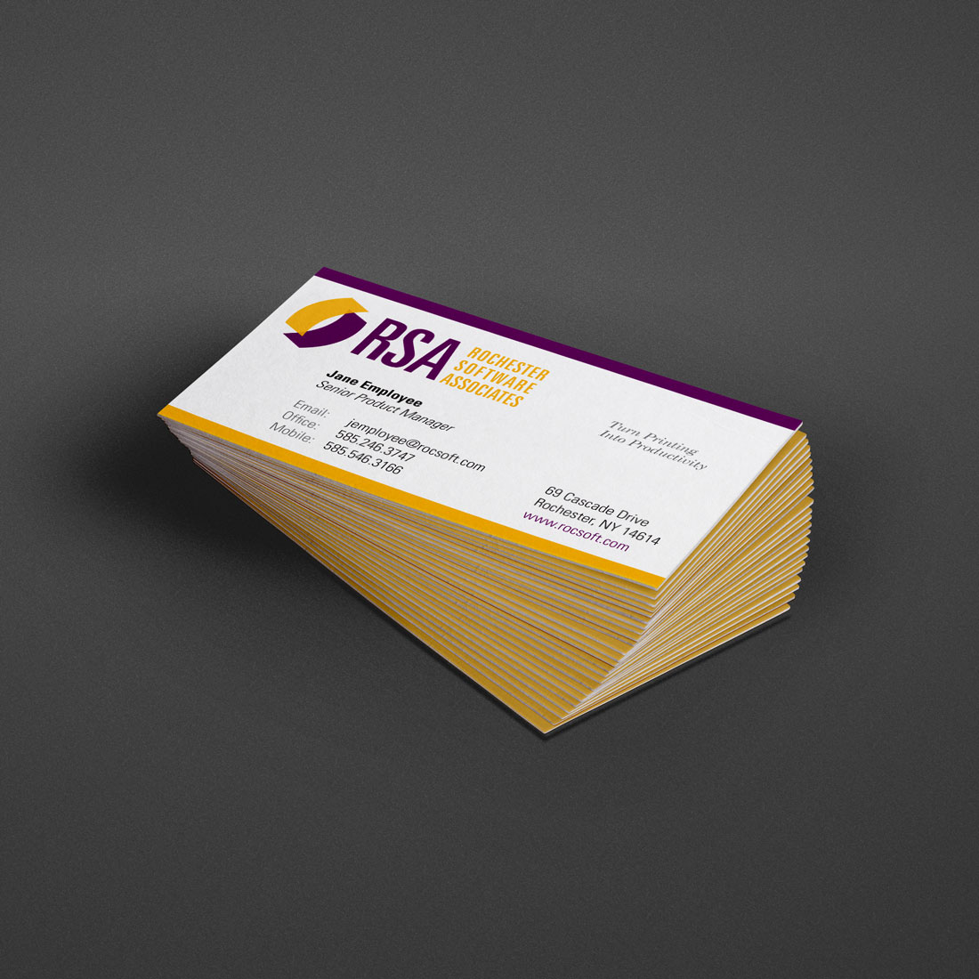 Photo of business cards designed by Pixelpunk Creative for Rochester Software Associates.