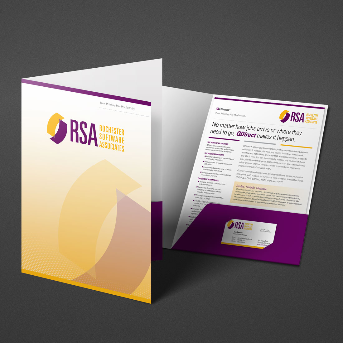 Photo of corporate brochure designed by Pixelpunk Creative for Rochester Software Associates.
