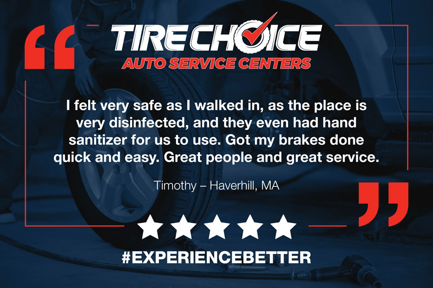 Image of Tire Choice testimonial graphic for social media