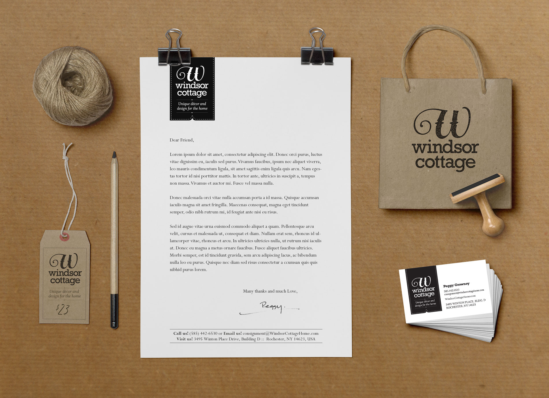 Photo of Windsor Cottage business cards and letterhead designs