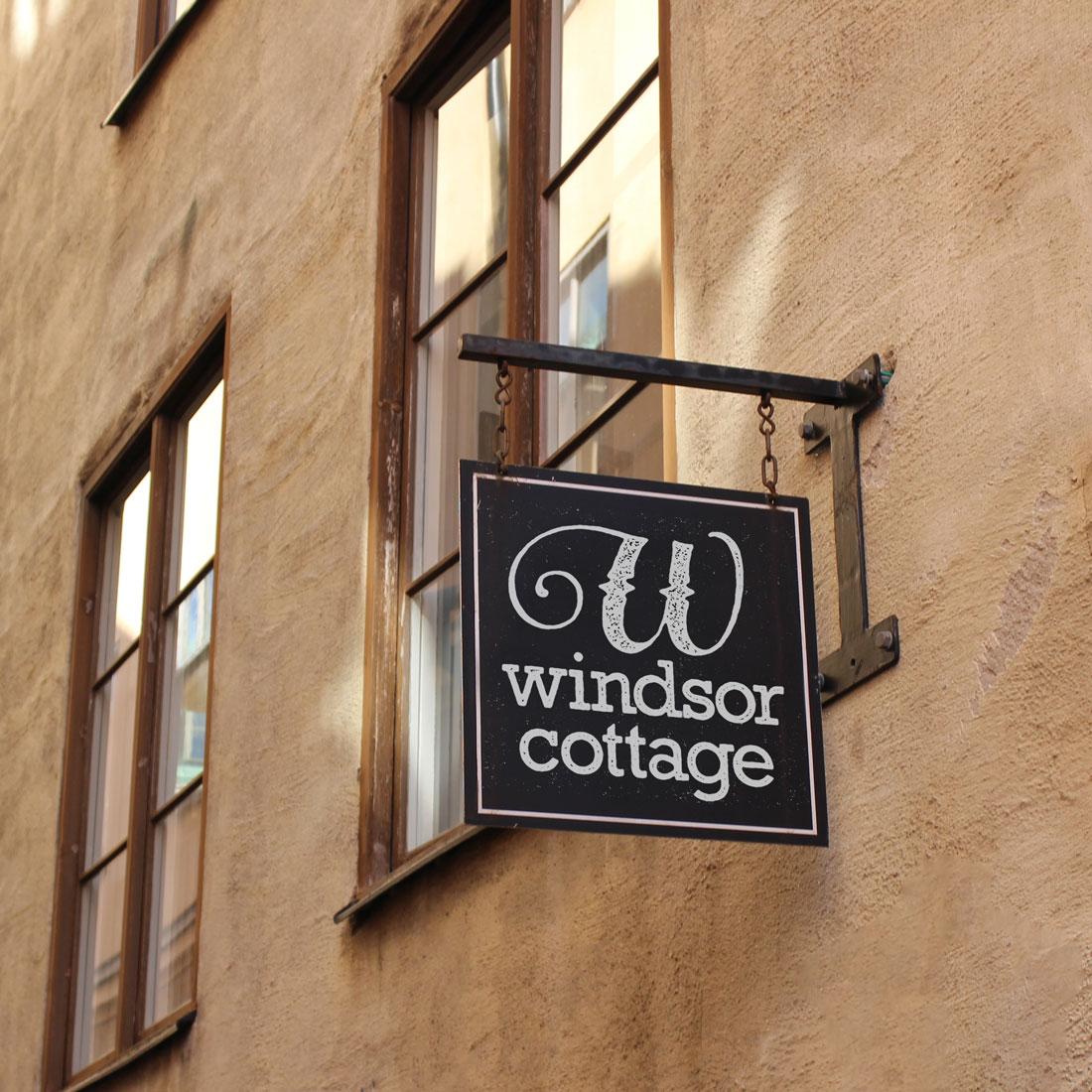 Photo of Windsor Cottage signage with logo