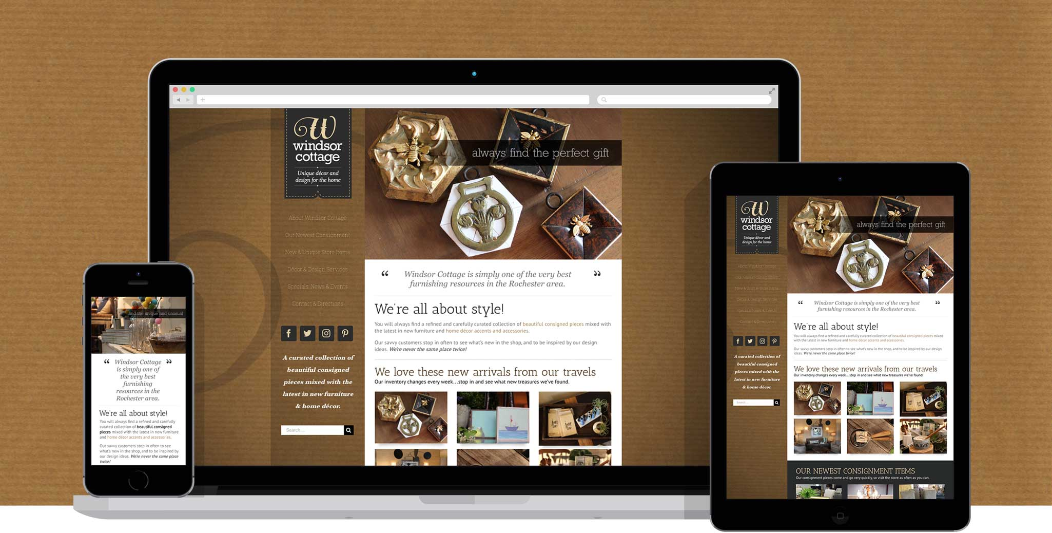 Photo of web design samples for Windsor Cottage, including responsive web designs on an iPhone and iPad