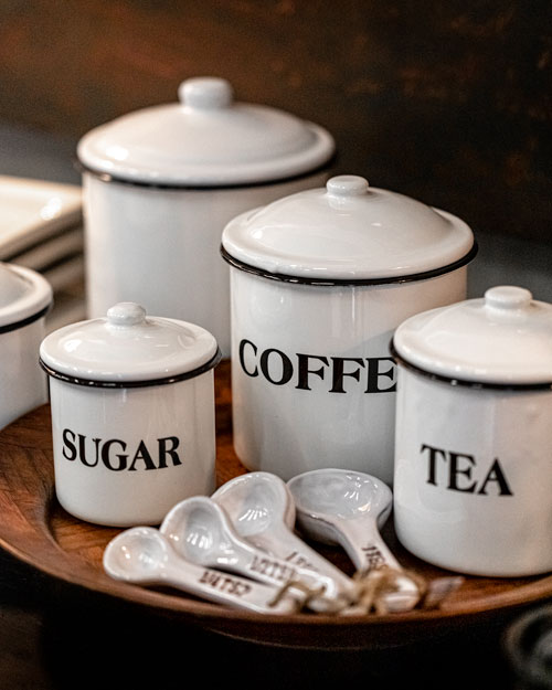 Photo of Social Media example for Windsor Cottage - White Coffee and Tea Canister Set
