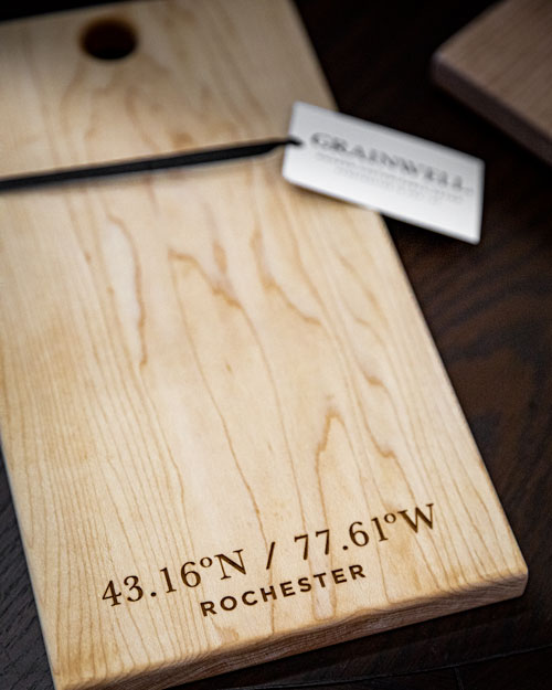Photo of Social Media example for Windsor Cottage - Cutting board with Rochester map coordinates